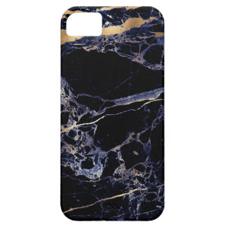 PixDezines Marble, Midnight Blue + Gold Veins iPhone 5 Cases