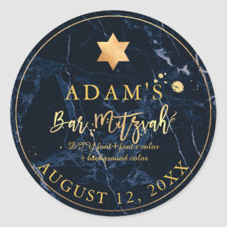 PixDezines Marble Mitzvah Stickers/Midnight Blue Round Sticker