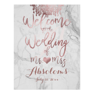 PixDezines Marble/Rose Gold Chandelier/Reception Poster