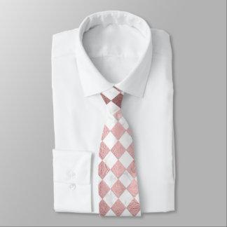 PixDezines Marble+Rose Gold Checker Tie