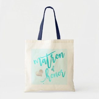 PixDezines Matron of Honor/Faux Foil Script/Aqua Tote Bag