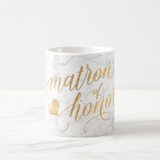 PixDezines Matron of Honor/Marble+Faux Gold/Script Coffee Mug