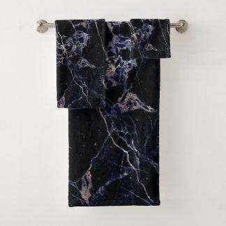PixDezines MIDNIGHT BLUE MARBLE+FAUX GOLD VEINS Bath Towel Set