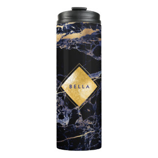 PixDezines MIDNIGHT BLUE MARBLE FAUX GOLD VEINS Thermal Tumbler