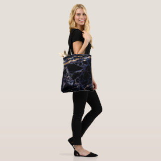 PixDezines MIDNIGHT BLUE MARBLE+FAUX GOLD VEINS Tote Bag