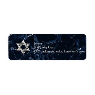 PixDezines Midnight Blue Marble Star of Daivd Return Address Label