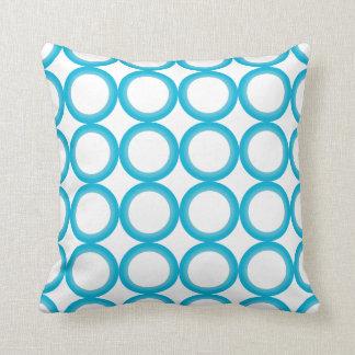 PixDezines mod rings/teal+white/diy background Throw Pillows