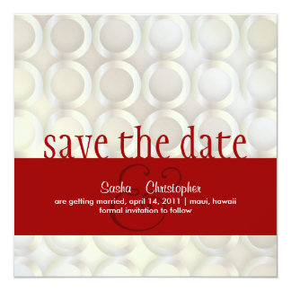 """PixDezines Mod Rings/White+Red/Save the Date 5.25"""" Square Invitation Card"""