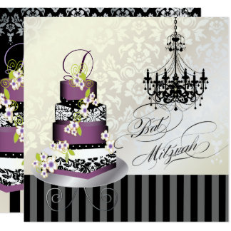 PixDezines MONOGRAM BAT MITZVAH/PLUM PUDDING CAKE Card