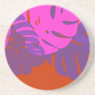 PixDezines Monstera, hot pink and purple Beverage Coasters