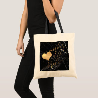 PixDezines Mother of Bride/Faux Gold Calligraphy Tote Bag