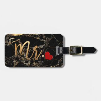 PixDezines MR BLACK MARBLE+FAUX GOLD Luggage Tag