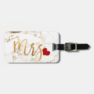 PixDezines MRS WHITE MARBLE+FAUX GOLD Luggage Tag