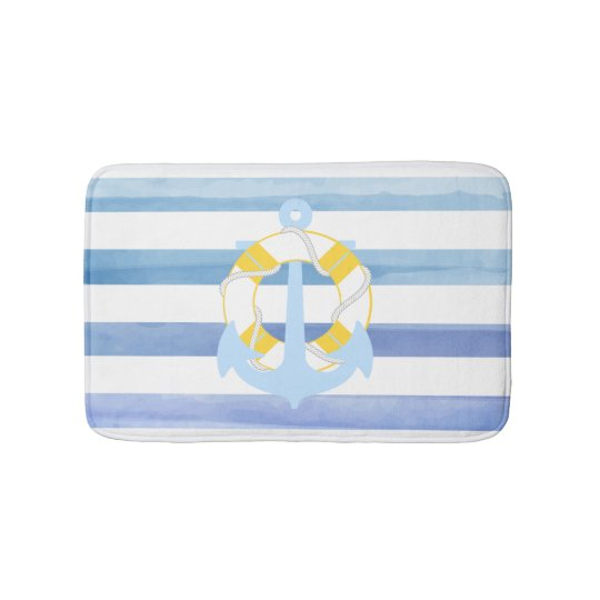 PixDezines nautical/anchor/watercolor affects Bathroom Mat