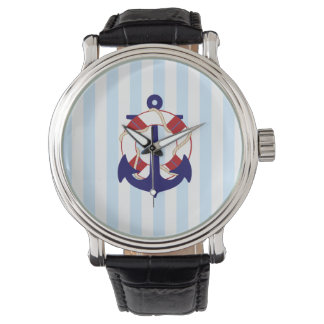 PixDezines nautical stripes/anchor/lifesaver Wristwatch