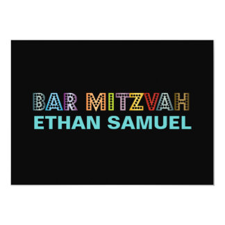 "PixDezines neon bar mitzvah 5"" X 7"" Invitation Card"