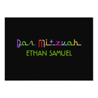"PixDezines neon lights bar mitzvah 5"" X 7"" Invitation Card"