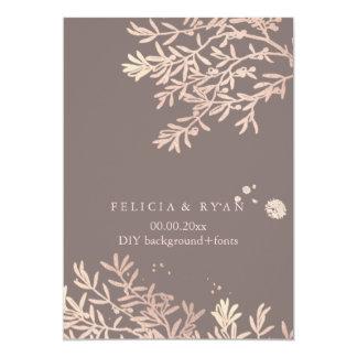 "PixDezines Olive Branches/Rose Gold/DIY Bckgrnd 5"" X 7"" Invitation Card"