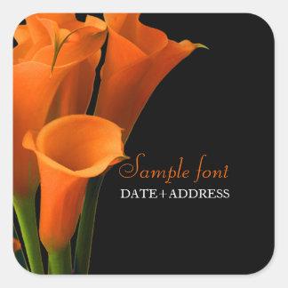 PixDezines orange calla/diy background color Square Sticker
