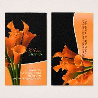 PixDezines orange calla lily/diy background Business Card