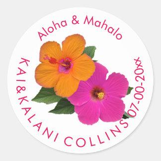 PixDezines Orange/Pink Hibiscus/Aloha/Mahalo Classic Round Sticker