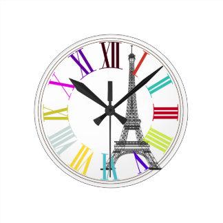PixDezines paris, eiffel/DIY background color Round Clock