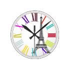 PixDezines paris, eiffel/DIY background colour Round Clock