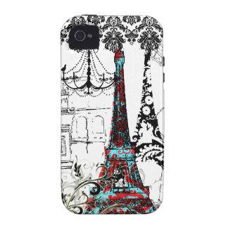 PixDezines Paris Sketch, coral damask/DIY color Vibe iPhone 4 Case