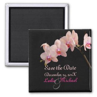 PixDezines Peach Orchid, Save the Date Square Magnet