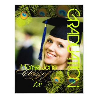 "PixDezines Peacock, 2012 Graduation,diy background 4.25"" X 5.5"" Invitation Card"