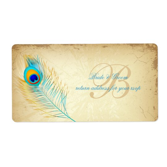 PixDezines peacock/DIY background colour Shipping Label