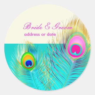 PixDezines peacock feather/aqua/turquoise Classic Round Sticker