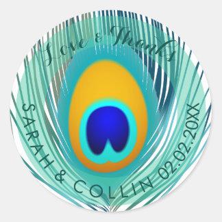 PixDezines peacock feather Classic Round Sticker