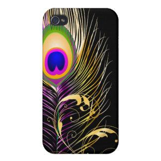 PixDezines peacock plume+filigree/DIY background iPhone 4/4S Cover