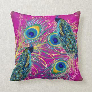 PixDezines peacocks/diy background colors Throw Pillow
