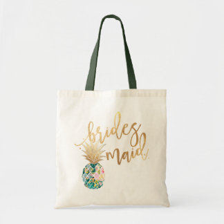 PixDezines Pineapple/Bridesmaid/Faux Gold Script Tote Bag