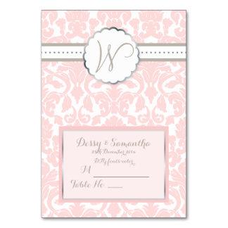 PixDezines pink flora damask tent place card