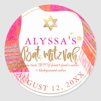 PixDezines Pink+Orange Watercol Tallit Bat Mitzvah Classic Round Sticker