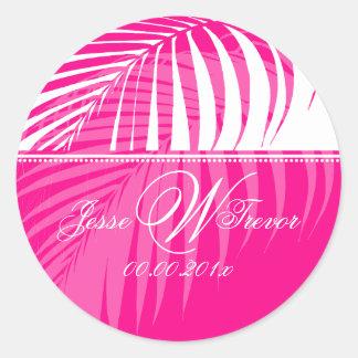 PixDezines Pink Palm Fronds, DIY background Round Sticker
