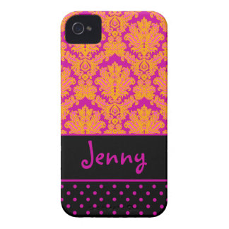 PixDezines Piqué Damask/Pink+Black/DIY color iPhone 4 Case