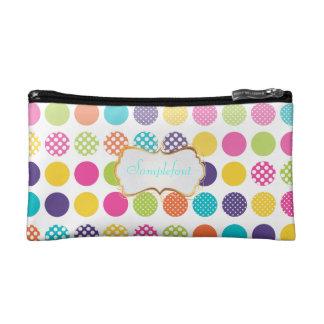 PixDezines polka dots/diy background+text Cosmetic Bag
