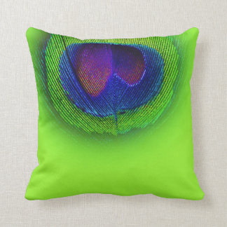 PixDezines psychedelic peacock eye/cobalt+green Throw Pillow