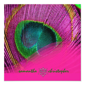"""PixDezines psychedelic peacock eye/hot pink 5.25"""" Square Invitation Card"""