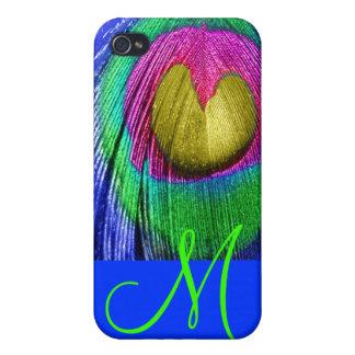 PixDezines Psychedelic Peacock, Monogram iPhone 4/4S Cover