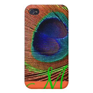 PixDezines Psychedelic Peacock, Monogram iPhone 4 Covers