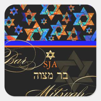 PixDezines Psychedelic Stars/Bar Mitzvah Square Sticker