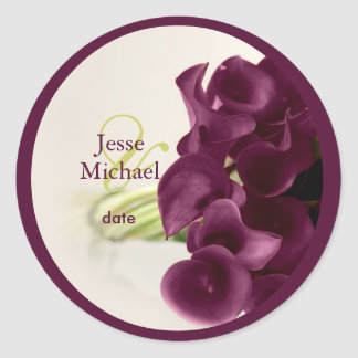 PixDezines purple calla lilies/diy Classic Round Sticker