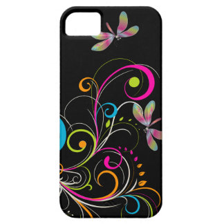 PixDezines Rainbow Swirls+Dragonfly/DIY color iPhone 5 Case