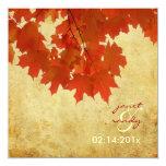 "PixDezines red maple leaves/fall/autumn event 5.25"" Square Invitation Card"