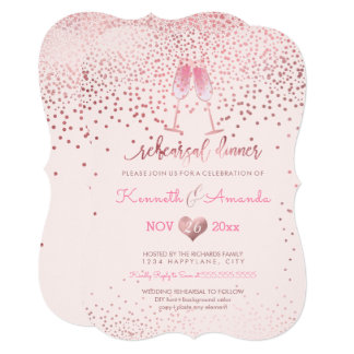 PixDezines Rehearsal Dinner/Bubbles+Pink Champagne Card